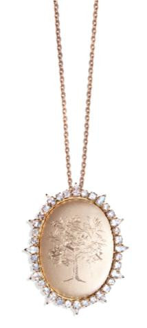 Moonstone Tree of Life Locket, 18K Yellow Gold