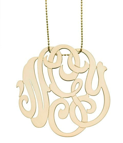 Yellow Gold Lace Monogram Necklace
