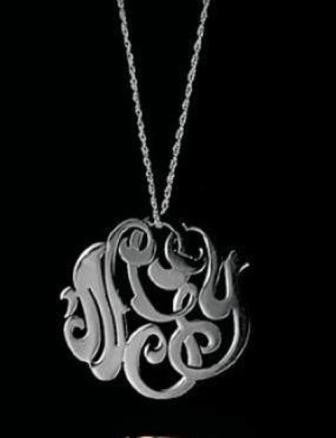 White Gold Lace Monogram Necklace