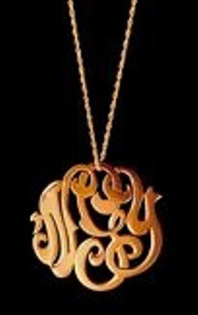 Rose Gold Lace Monogram Necklace
