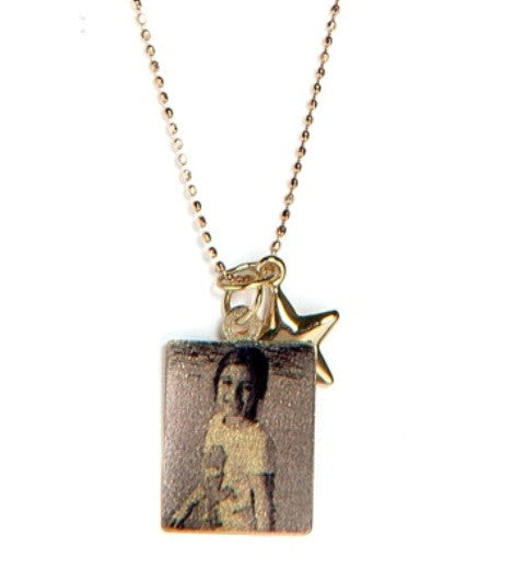 Rectangle Photo Pendant with Star Charm, Yellow Gold
