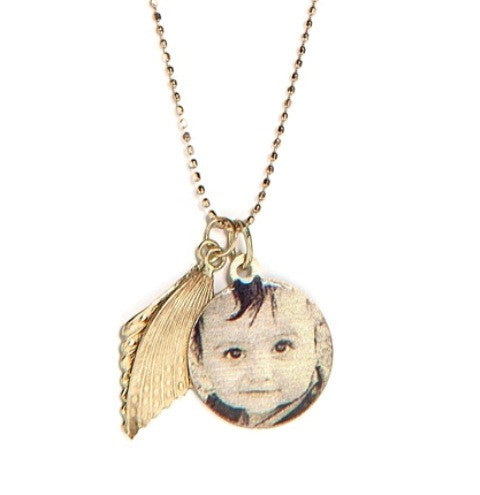 Round Photo Pendant with Angel Wings, Yellow Gold