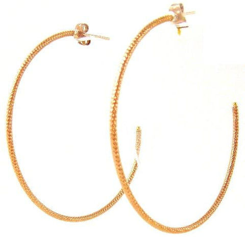 Hammered Hoop Earrings, Rose Gold Plated