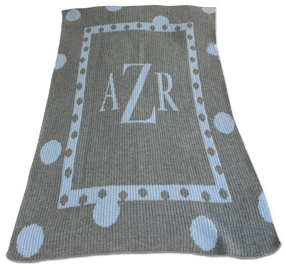 Large Polka Dot Monogram Blanket