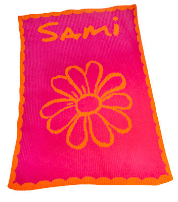 Flower and Scalloped Edge Personalized Blanket