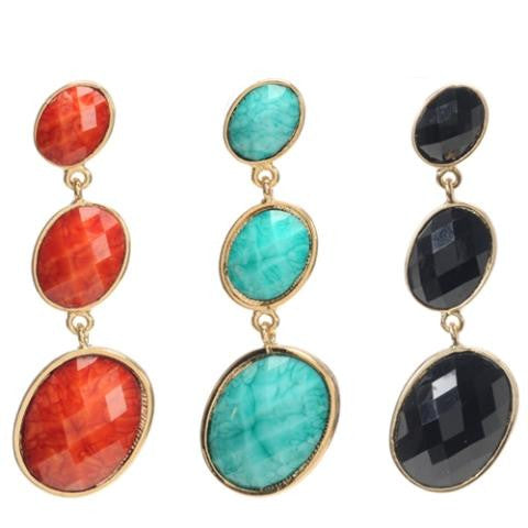 Triple Tiered Earring, Black