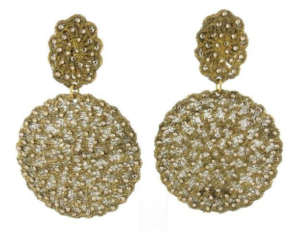 Golden Disk Crystal Earrings