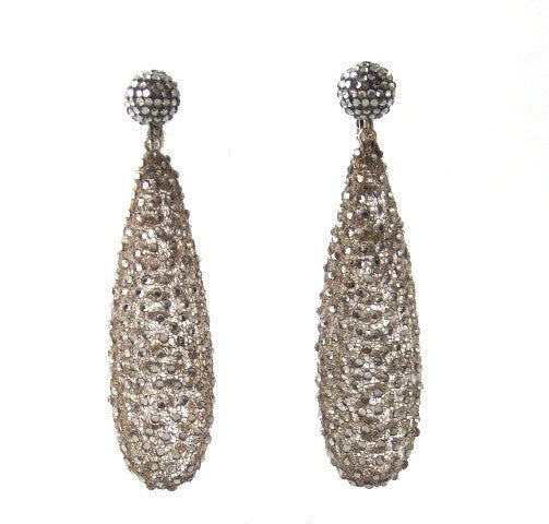 Mesh & Crystal Drop Earrings