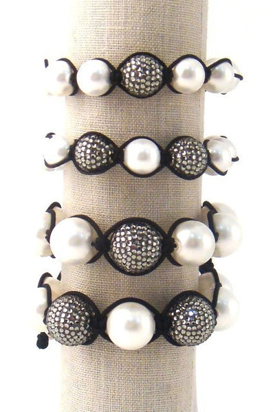 "Pearl & Black ""Diamond"" Adjustable Bracelets"