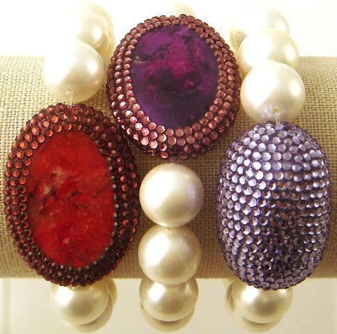 """Agate"" and Crystal Stretch Pearl Bracelets"