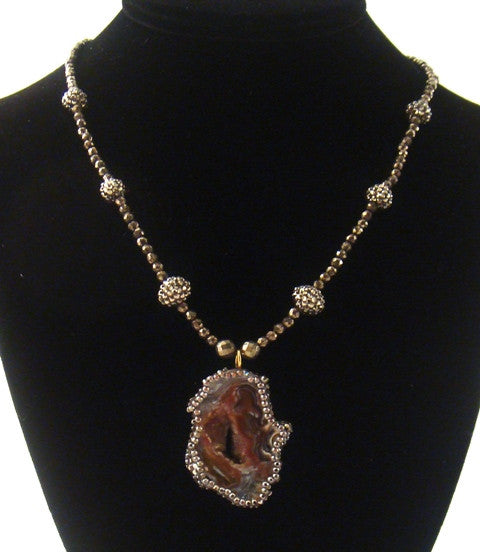Agate & Swarovski Necklace with Pyrite Beads