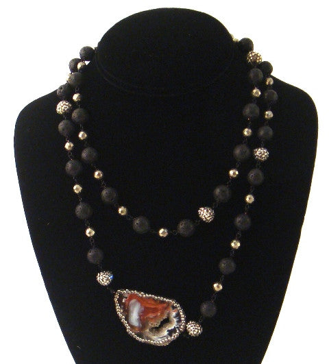 Agate & Swarovski Necklace with Lava Beads