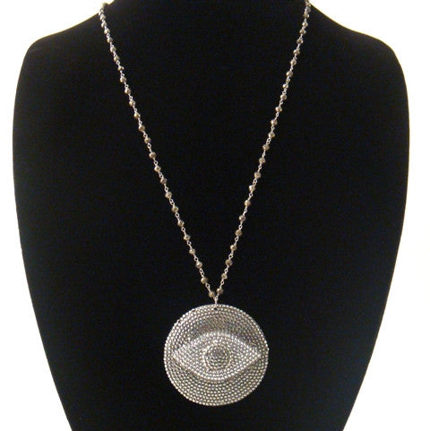 "Large Evil Eye Necklace, 36""Pyrite Chain"