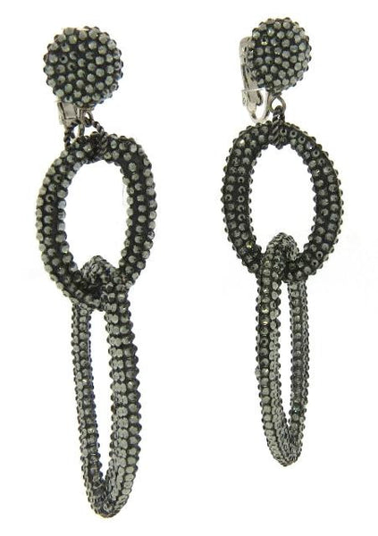 "Double Link ""Black Diamond"" Crystal Earrings"