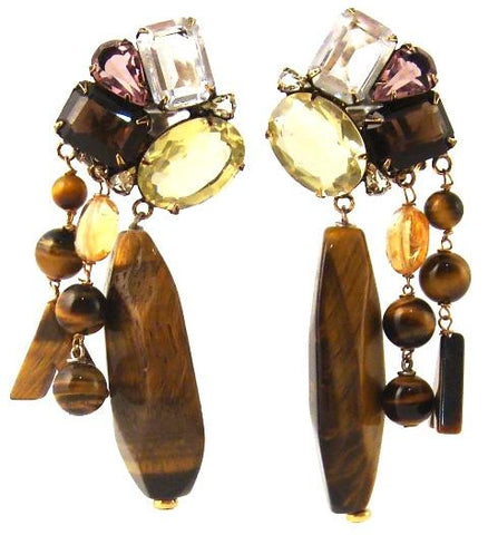 Tiger's Eye & Citrine Earrings
