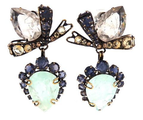 Aquamarine & Quartz Bow Earrings