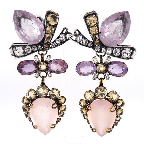 Rose Quartz & Citrine Bow Earrings