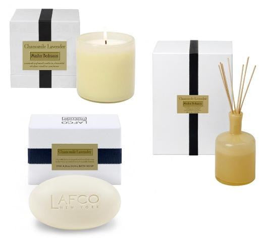 Master Bedroom: CHAMOMILE LAVENDER/Candle, Diffuser & Soap Set