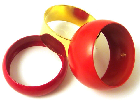 """Paloma"" Red & Gold-Plated Domed Bangles, Set of 3"
