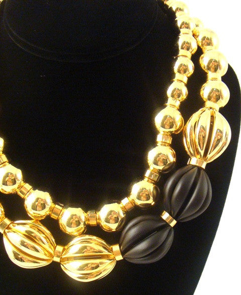 """Paloma"" Double Strand Ball Necklace, Black"