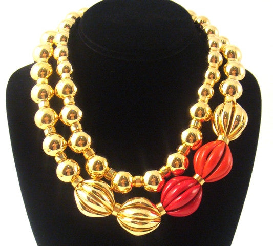 """Paloma"" Double Strand Ball Necklace, Red"