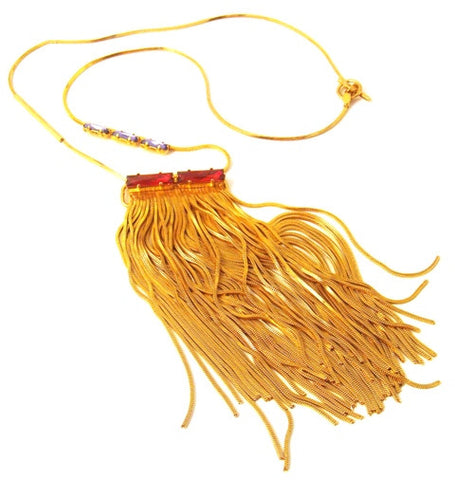 Fringe & Crystal Gold-Tone Necklace