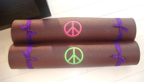 Yoga Mat, Chocolate Brown with Hot Pink Peace Sign