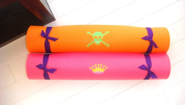 Children's Yoga Mat, Bright Pink with Yellow & Lavender Crown