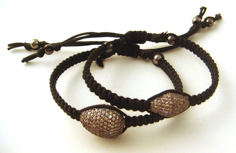 Pave Crystal & Hand-Braided Black Cord Bracelets