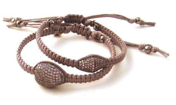 Pave Crystal & Hand-Braided Gray Cord Bracelets
