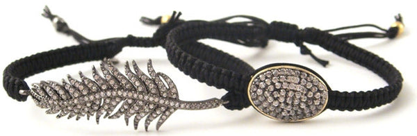 Feather & Oval Pave Bracelets On Black Silk Cords