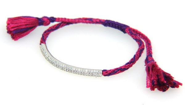 """Friendship"" Macrame Bracelet with Crystals, Fuchsia/Purple"