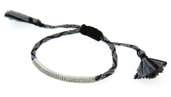 """Friendship"" Macrame Bracelet with Crystals, Gray/Black"