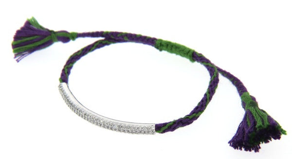 """Friendship"" Macrame Bracelet with Crystals, Purple/Green"