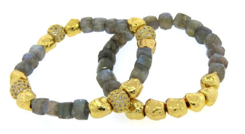Rock Labradorite & Hammered Gold Bracelets