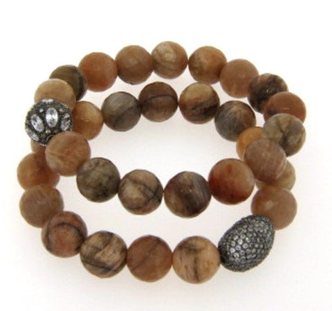 Brown Agate & Crystal Stretch Bracelets, Gunmetal Plated