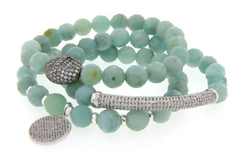 Blue Agate & Crystal Stretch Bracelets