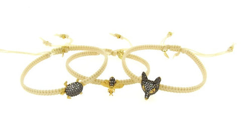 Pave Crystal Animal Bracelets, Ivory Silk Cords