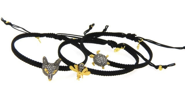 Pave Crystal Animal Bracelets, Black Silk Cords