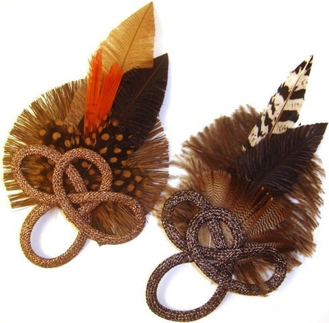 Metallic Feather Barrettes