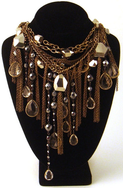 Crystal & Fringe Multi-Strand Dangle Necklace