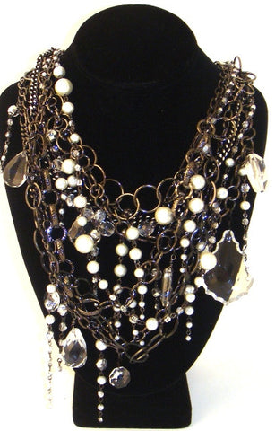 "Multi-Strand Crystal & ""Pearl"" Gunmetal Necklace"