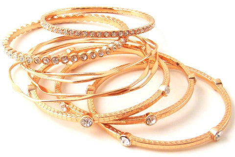 Rose Tone & Crystal Bangle Set