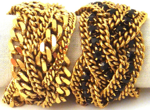 Braided Chain Bracelets, Gold-Plate & Black Crystals