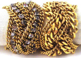 Braided Chain Bracelets, Gold-Plate & Clear Crystals