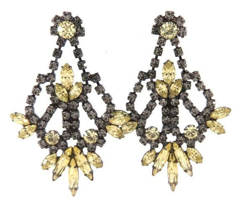Yellow & Black Diamond Crystal Drop Earrings