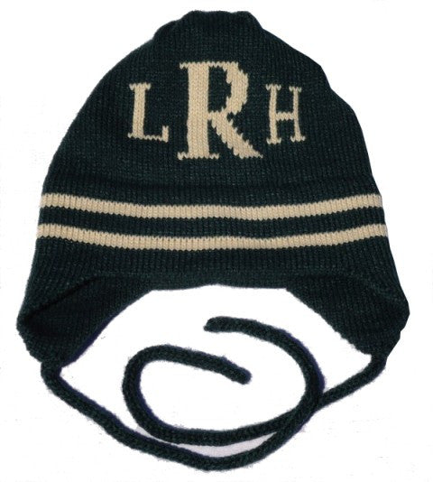 Monogram & Stripe Hat with Earflaps
