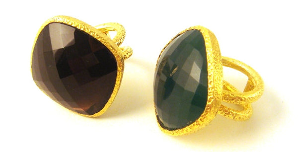 """Chloe"" Faceted Statement Rings"