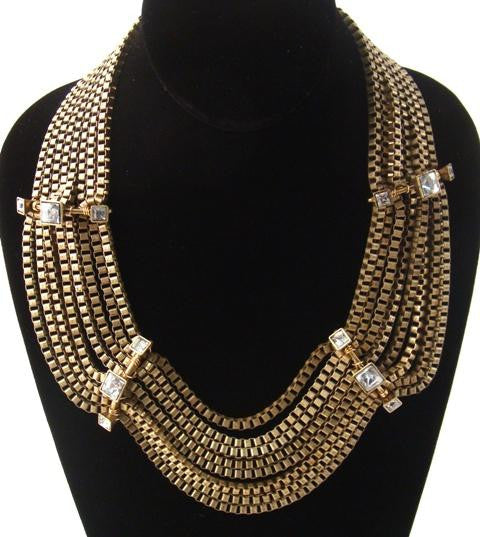 Crystal & Brass Chain Necklace