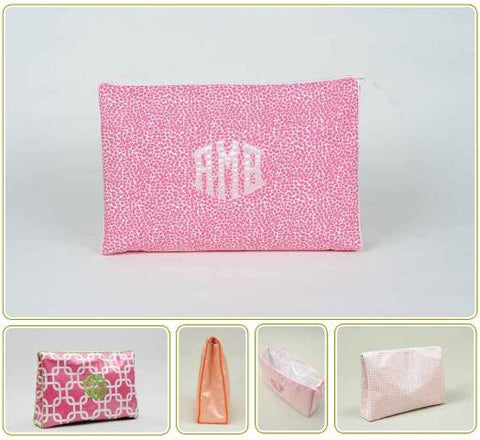 Monogrammed Ziptop Cosmetic Case, Large